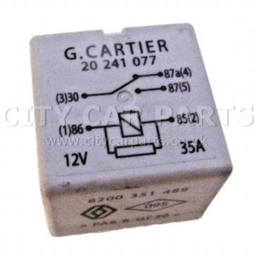 RENAULT MODELS 2009 TO 17 5-PIN GREY RELAY 8200351489 G. CARTIER 20241077 12V 35A